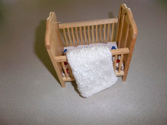 Ivory/Off White  Miniature Doll House Blanket/Afghan - One Twelfth Scale