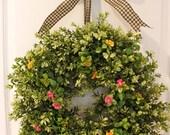 Summer Wreath - Daisy Wreath - Boxwood Wreath - Door Wreath - Front Door Decor