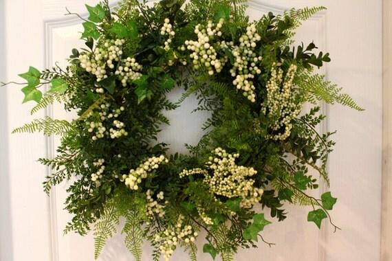 Last One - Spring Wreath - Berry Wreath - Boxwood Wreath - Door Wreath - Ivy - Fern - Berries - Front Door Decor
