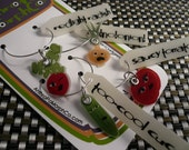 mental vegetables wine charms set (friends from the salad bar)