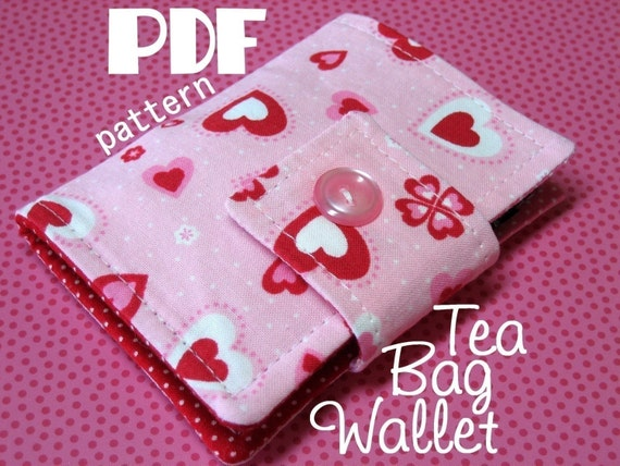 INSTANT DOWNLOAD - PDF Sewing Pattern - Tea Bag Wallet | Holder | Case