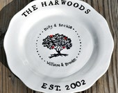 Personalized Family Tree Wedding or anniversary platter with red hearts and names