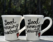 set of 2 of CUSTOM wedding mugs that just feel good pick your font