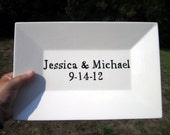 Custom Made Name Platter great for weddings or anniversary black and white or color Block style