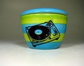 lidded bowl turntable (striped blue/green) - Made to Order