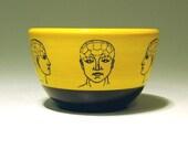 Made to Order - 16oz bowl phrenology (yellow\/black)