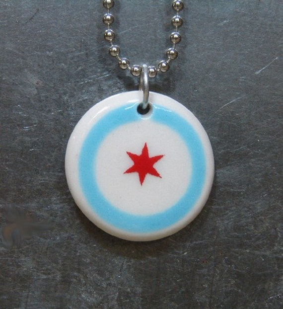 pendant / necklace chicago flag.