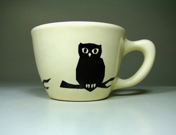 12oz cup owl on branch - Made to Order / Pick Your Colour