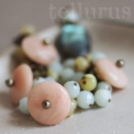 Cherubim Bracelet - pastel gemstone charms and flashy labradorite