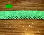 5/16 Bright GREEN Petite Picot Edged ELASTIC 5 yds.