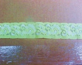 10 yds. of 1-1/2 Bright Pastel LIME Green Lingerie Lace - Baby Headband - Commercial First Grade