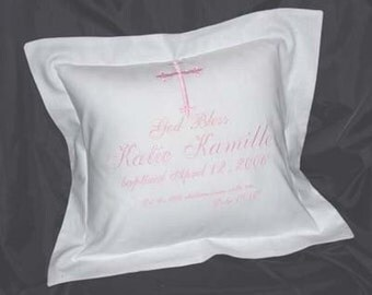 Custom Baptism, Christening, Naming Bar Bat Mitzvah Heirloom Pillow