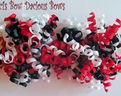 Harlequin Petite Korker Set, red white and black, toddler hair bows, big girl bows