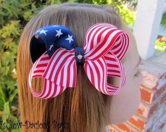 Flag Boutique Style Twisted Patriotic  Hair Bow  Perfect for 4th of July, dance bows, American Flag,extra large bow, cheer bow, sports bows