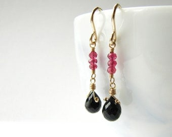 Drop Earrings Wire Wrapped Black Tourmaline Red Spinel Dangle