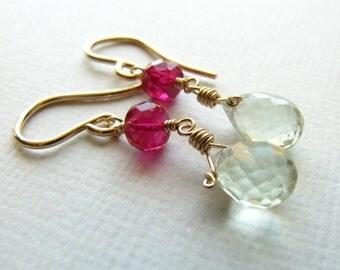 Short Dangle Wire Wrapped Earrings Ruby Green Amethyst Prasiolite