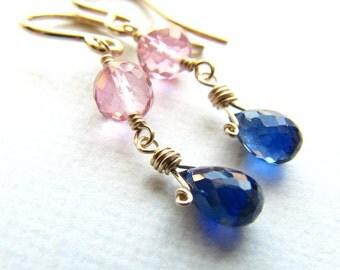 Wire Wrapped Dangle Earrings Pink Topaz Kyanite