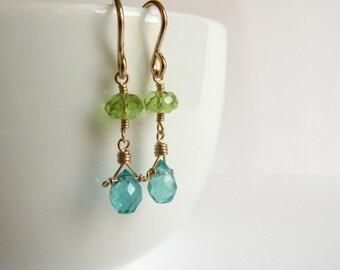 Drop Earrings Wire Wrapped Short Dangle Peridot Green Apatite Birthstone