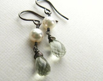 Wire Wrapped Earrings Dangle Pearl Prasiolite
