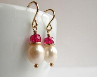 Red Ruby White Pearl Short Earrings