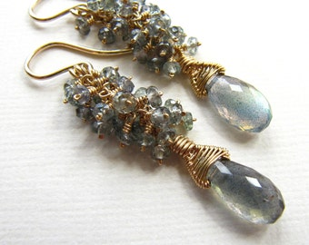 Wire Wrapped Cluster Dangle Drop Statement Earrings Iolite Labradorite