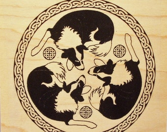 Border Collie Trio Rubber Stamp Celtic Knot Frame #457