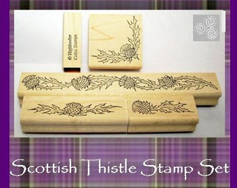 Scottish Thistle Rubber Stamp Set of Five Symbol of Scotland