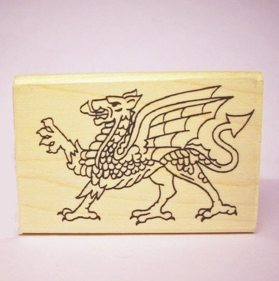 Welsh Dragon Rubber Stamp Symbol of Wales