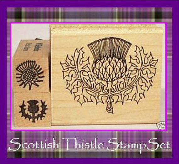 Scottish Thistle Stamp Set of Three Symbol of Scotland