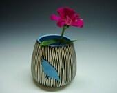 SALE Porcelain Bird Silhouette Vase blue quail
