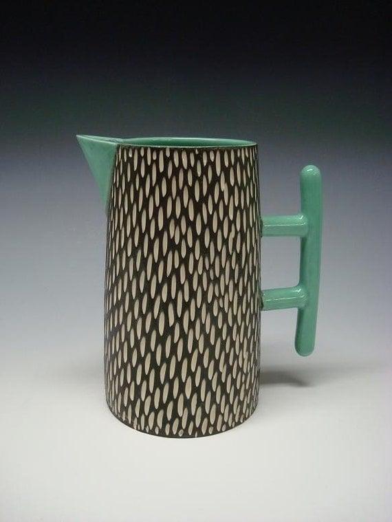 Mod Pitcher porcelain turquoise black white
