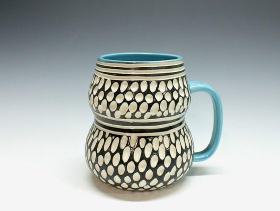 Modern Porcelain Mug BLUE black white