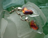 Earrings - Fused Dichroic Glass - Red Flower Petal Dangling