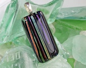 Pendant - Dichroic Lines Fused Glass Jewelry