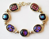 RESERVED LISTING - Fine Silver PMC Fused Dichroic Link Bracelet - Magenta