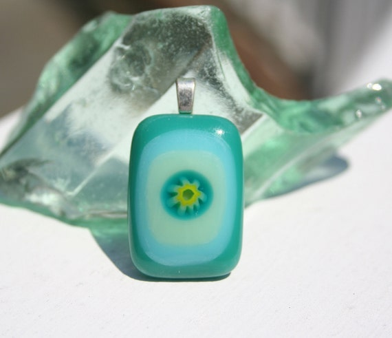Fused Flower Glass Pendant