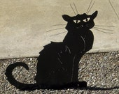 Cat Chat Noir Black Cat Yard Garden Art Steinlen Statue with Wire Whiskers