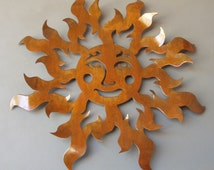 Metal Sun Brown Rust Finish Flames Happy Face Wall Sculpture Art 25 Inch