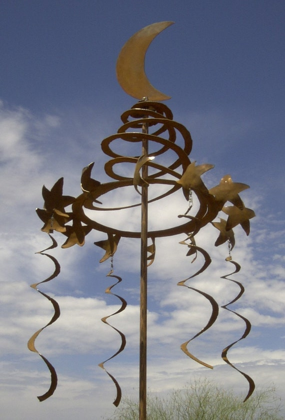 Wind Sculpture Kinetic Rusted Metal, Petite Celestial Spiral Moon Topper with Spinning Coils
