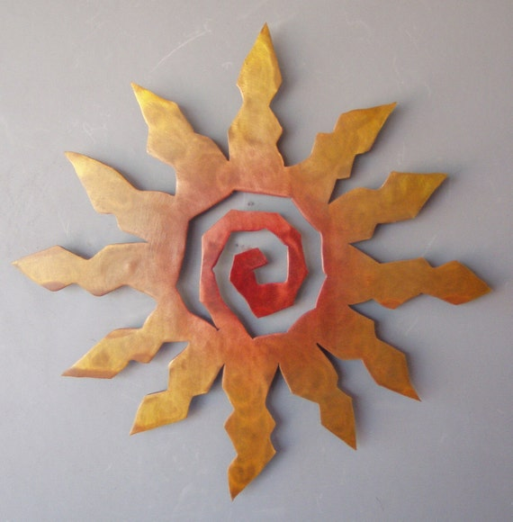 Metal Sun Burst Southwest Art Wall Hanging Rusted With Accents