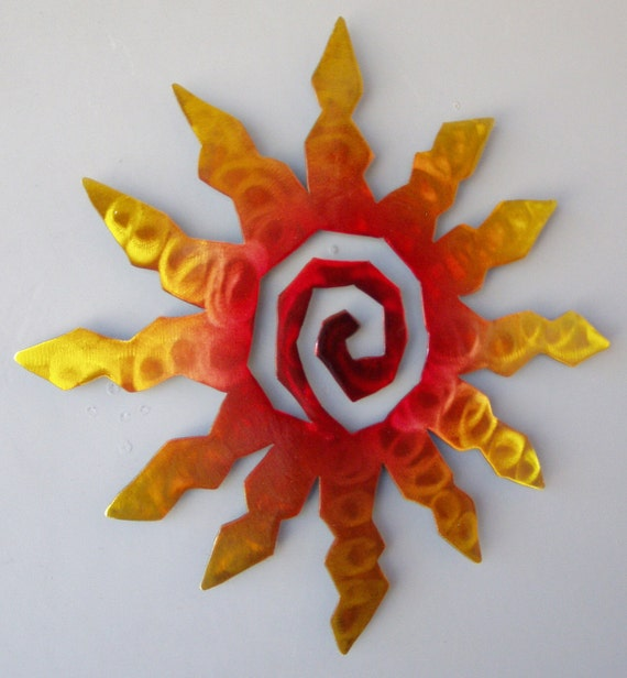 Perfect Sun Burst Spiral Metal Wall Art Sunset Swirl Finish with Red Yellow and Blue