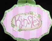 Girl Custom Hand Painted Plaque w/ a touch of bling/Custom Listing for Danielle