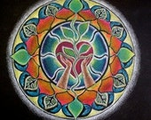 Holding Heart Mandala Sticker  Original Prismacolor Pencil Illuminated Drawing