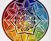 Mandala Sticker- One  Original Illuminated Mandala Drawing Sticker- 3 inch - Color Wheel Chakra  Mandala