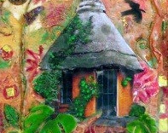 Spirit Houses Encaustic Mixed Media Painting original encaustic mixed media