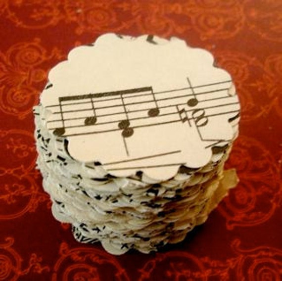 100 Vintage Scalloped Circles made from Old 1940's Sheet Music