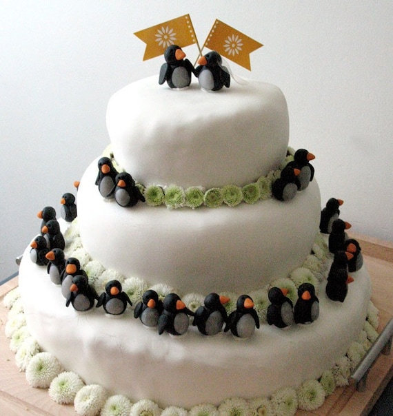 Penguin Army Wedding Cake Decoration Kit 44 Polymer Clay