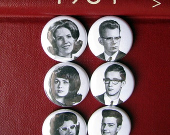 "Magnet Set - Vintage School Photos - 1960s Yearbook - 1"" round - Gifts under 10 dollars - Black and White - Retro Teens - Gift for Her"
