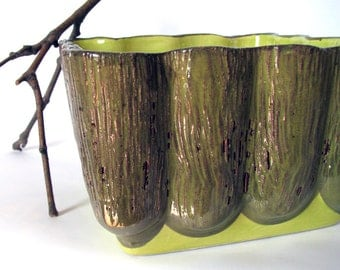 Vintage - Planter - Aborn Pottery - Flower Pot - Herb Garden - Lime Green - Natural - Bark - Funky - Retro - Gardening - Collectible