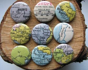 Europe Magnet Set - Vintage Map - Round Magnets - 9